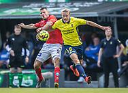 Shkodran Maholli (Silkeborg IF) og Hjörtur Hermannsson (Brøndby IF) under kampen i 3F Superligaen mellem Brøndby IF og Silkeborg IF den 14. juli 2019 på Brøndby Stadion (Foto: Claus Birch)