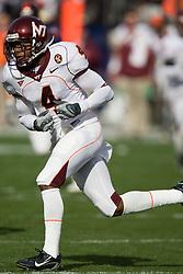 Virginia Tech wide receiver Eddie Royal (4)..The #8 ranked Virginia Tech Hokies defeated the #16 ranked Virginia Cavaliers 33-21 at Scott Stadium in Charlottesville, VA on November 24, 2007.