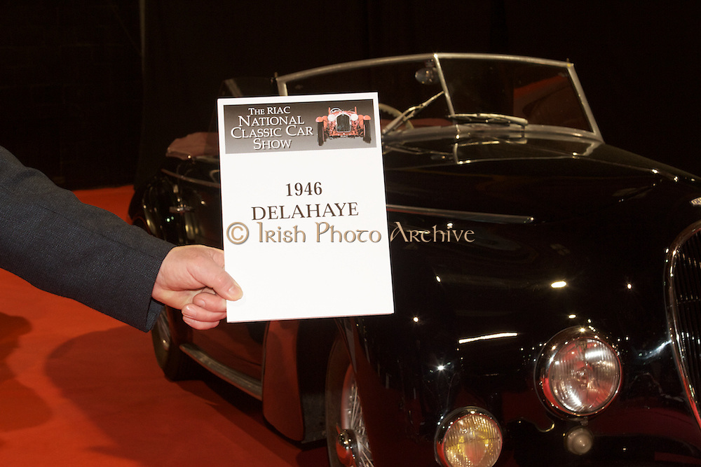 RIAC Classic Car Show 2013, RDS, 1946 Delahaye, a fascinating car from the first half of the twentieth century. Irish, Photo, Archive.