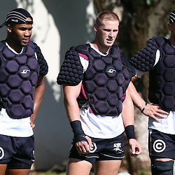 DURBAN, SOUTH AFRICA, 1,MARCH, 2016 -JP Pietersen with Jean-Luc du Preez and Daniel Du Preez during The Cell C Sharks training session  at Growthpoint Kings Park in Durban, South Africa. (Photo by Steve Haag)<br /> images for social media must have consent from Steve Haag