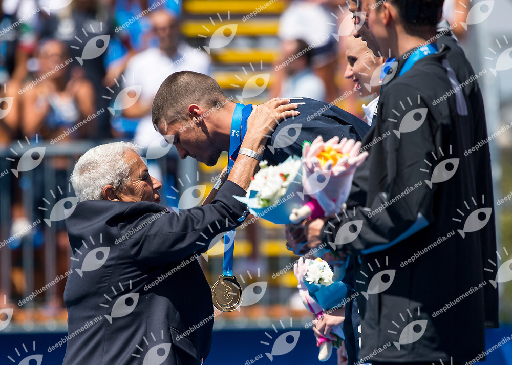 Medal ceremony with FINA delegate TUDINI Cicci ITA<br /> Synchronised swimming , Synchro<br /> mixed duet tecnhical final<br /> 17/07/2017 <br /> XVII FINA World Championships Aquatics<br /> City Park - Varosliget Lake<br /> Photo @ Giorgio Perottino/Deepbluemedia/Insidefoto