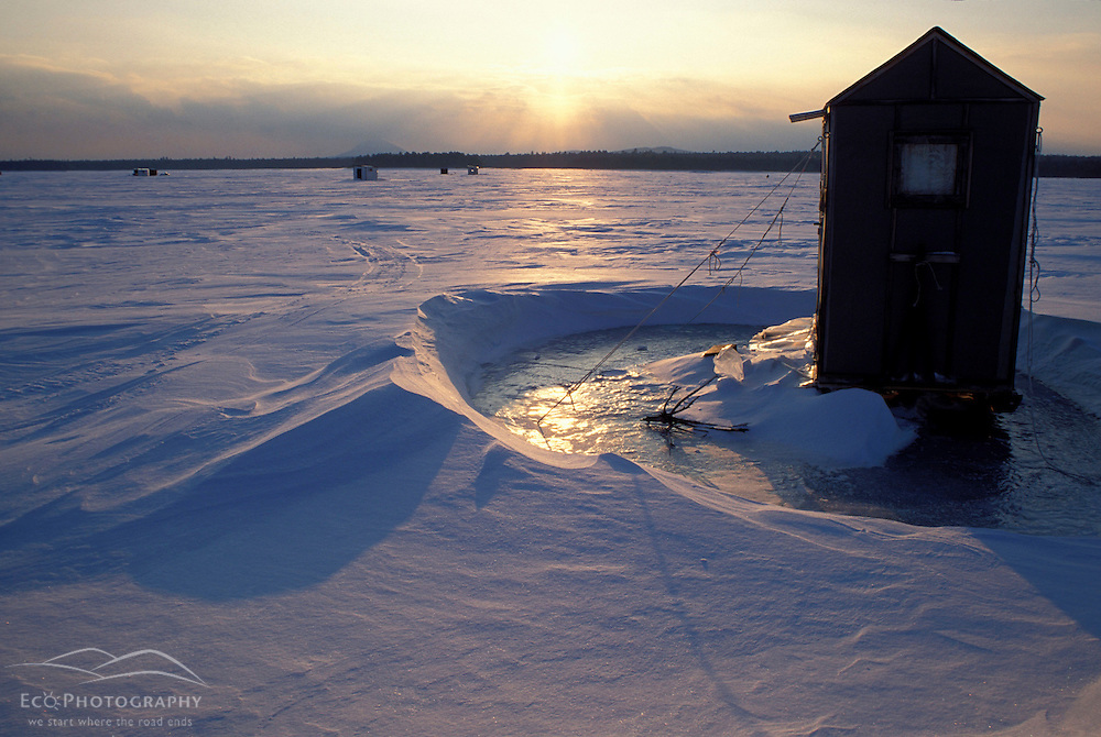 Chesuncook Lake, ME. Ice fishing shacks. Northern Forest.