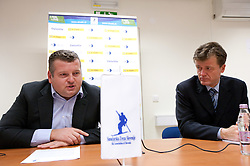 President Tomaz Lovse and director Matija Vojsk during press conference of Ski Association of Slovenia, on December 3, 2010 in SZS, Ljubljana, Slovenia. (Photo By Vid Ponikvar / Sportida.com)