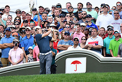June 25, 2017 - Cromwell, Connecticut, U.S - Jordan Spieth tees off the first tee during the final round of the Travelers Championship at TPC River Highlands in Cromwell, Connecticut. (Credit Image: © Brian Ciancio via ZUMA Wire)