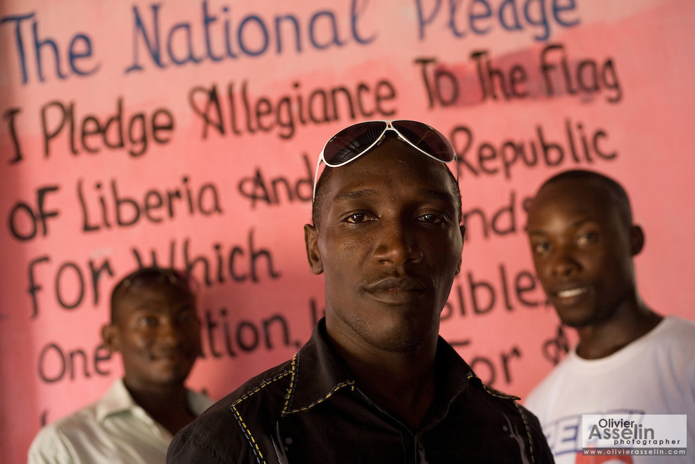 Three members of the band King's Jubilee, Francis Wesseh (left), Terry Williams (middle) and Zaroe Amilcar (right) pose for a portrait at the Buduburam refugee settlement, roughly 20 km west of Ghana's capital Accra on Friday April 13, 2007. The group, which is composed of five Liberian men living at Buduburam, is currently recording their second album, and already has a growing number of fans back in Liberia. The Buduburam refugee settlement is still home over 30,000 Liberians, most of which have mixed feelings about returning to Liberia..