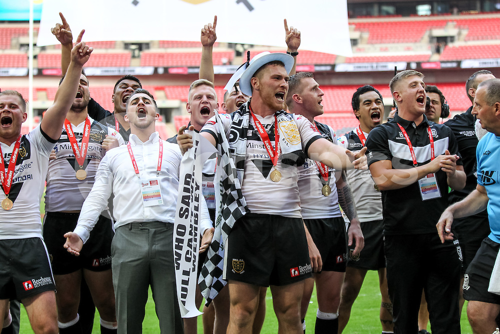 Hull FC players celebrate winning the Ladbrokes Challenge Cup Final match between Hull FC and Warrington Wolves at Wembley Stadium, London, England on 27 August 2016. Photo by Ken Sparks.