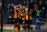 Hull City midfielder Robert Snodgrass (10) scores the penalty to make it 1-0 during the The FA Cup match between Hull City and Brighton and Hove Albion at the KC Stadium, Kingston upon Hull, England on 9 January 2016.