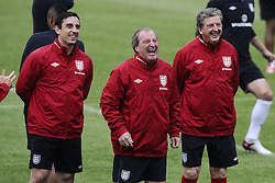 England Training  L to R Gary Neville, Ray Lewington - Roy Hodgson - training ahead of their game against Sweden in the UEFA Euro 2012. June 13, 2012. Photo by Imago/i-Images.All Rights Reserved ©imago/i-Images .Contact Agency for fees before use...One use only. Re-Use Fees apply