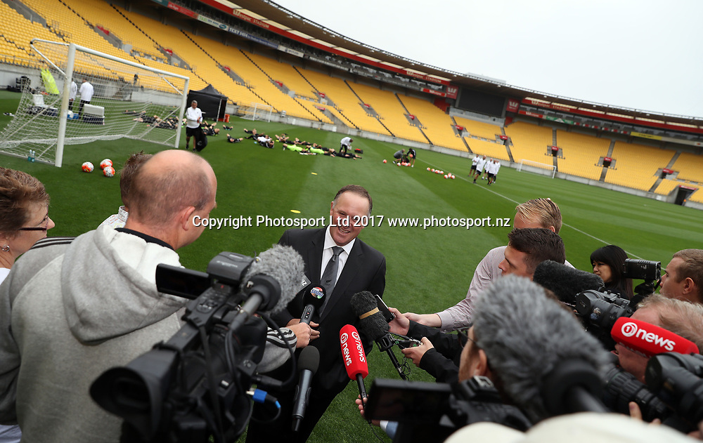 John Key during an All Whites training session at Westpac Stadium, Monday 27th March 2017 ahead of their 2nd leg 2018 FIFA World Cup Russia – OFC Stage 3 match agaisnt Fiji tomorrow. Copyright Photo: Shane Wenzlick