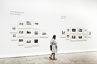 """VENICE, ITALY - 31 MAY 2013: A woman visits Luigi Ghirri's """"Viaggio in Italia"""" (1984) - 117 photographs by Olivo Barbieri, Gabriele Basilico, Giannantonio Battistella, Vincenzo Castella, Andrea Cavazzuti, Giovanni Chiaramonte, Mario Cresci, Vittore Fossati, Carlo Garzia, Luigi Ghirri, Guido Guidi, Shelley Hill, Mimmo Jodice, Gianni Leone, Claude Nori, Umberto Sartorello, Mario Tinelli, Ernesto Tuliozi, Fulvio Ventura, Cuchi White -  at the Italian Pavillon, at the Arsenale of the Biennale in Venice, Italy, on May 31st 2013. <br /> <br /> The Italian Pavilion presents vice versa, an ideal journey through Italian art of today,<br /> an itinerary that tells of identities, history and landscapes - real and imaginary - exploring the complexity and layers that characterize the country's artistic vicissitudes. The Italian Pavillon is curated by Bartolomeo Pietromarchi,<br /> who describes the exhibition as, ?A portrait of recent art, read as an atlas of themes and attitudes in dialogue with the historical legacy and current affairs, with both a local and international dimension. A cross-dialogue of correspondences, derivations and differences between acclaimed maestros and artists of later generations"""". The exhibition is divided into seven spaces - six rooms and a garden - that each house<br /> the work of two artists,<br /> who are brought together on the basis of the affinity of their<br /> respective poetics and common interests in themes, ideas and practices.<br /> <br /> The 55th International Art Exhibition of the Venice Biennale takes place in Venice from June 1st to November 24th, 2013 at the Giardini and at the Arsenale as well as in various venues the city. <br /> <br /> Gianni Cipriano for The New York TImes"""