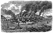 General view of Pittsburgh, Pennsylvania, showing smoke pouring from the chimneys of the numerous foundries and rolling mills. From 'Scenes of American Wealth and Industry', Boston, 1833. Woodcut
