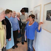 Looking over some of the Art on loan from the Irish Museum of Modern Art which will be on display at Raheen Day Care Centre were Ian Castles and Nicola Henley,Iniscealtra Arts Festival and BB Loughnane,Mai Tuohy,Mary Melody and Peggy Tuohy.<br /> <br /> Photograph by Eamon Ward