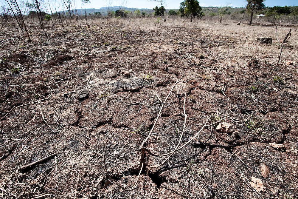 After more than six months of drought, dry soil cracks under the heat of the baking sun in Ile de La Gonave, Haiti