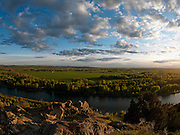 Idaho, east, evening light in spring over the south fork of the Snake River and agricultural land along the Upper Snake River Valley as seen from the Crees Creek nature area