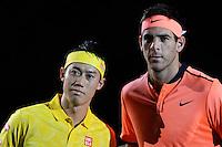 28.10.2016;  Basel; Tennis - Swiss Indoors 2016; Kei Nishikori (JPN) und Juan Martin Del Potro (ARG)<br /> (Steffen Schmidt/freshfocus)