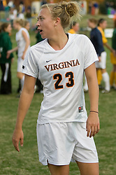 Virginia midfielder/defender Nikki Krzysik (23) after scoring the game winning goal in the final seconds of the match.  The Virginia Cavaliers defeated the William and Mary Tribe 1-0 in the second round of the NCAA Women's Soccer tournament held at Klockner Stadium in Charlottesville, VA on November 18, 2007.