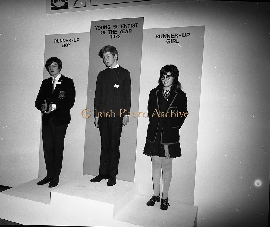 1972.07/01/1972.01/07/1972.7th January 1972.The Aer lingus Young Scientist Exhibition at the RDS, Dublin..Pictured centre the Young Scientist of the Year winner Sean Mac Fheorais from Colaiste Mhuire, Cearnog Pharnell, Dublin. Also pictured Geraldine O'Hagan (right) from Mt Lourdes Grammar School, Enniskillen, Co. Fermanagh and Patrick Owen Mullins(left) from St Peters College, Wexford, both runners up.