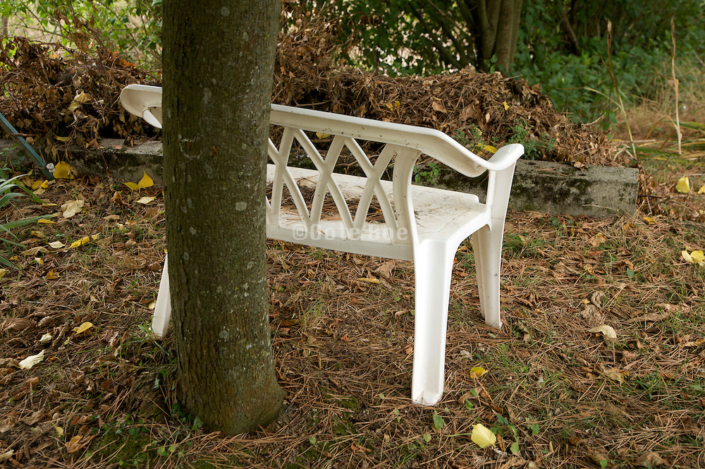 plastic two seater bench under a tree during fall season