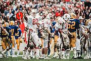 BERKELEY, CA - NOVEMBER 22:  Milt McColl #80 of Stanford University gestures towards the sidelines during the 83rd Big Game against Cal on November 22, 1980 at Memorial Stadium in Berkeley, California.