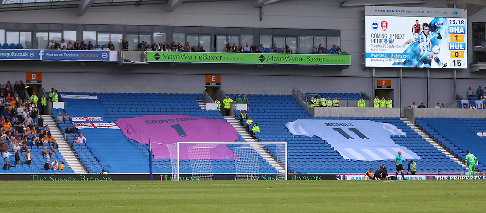 Tribute football shirts in the stands during the Sky Bet Championship match between Brighton and Hove Albion and Hull City at the American Express Community Stadium, Brighton and Hove, England on 12 September 2015. Photo by Phil Duncan.