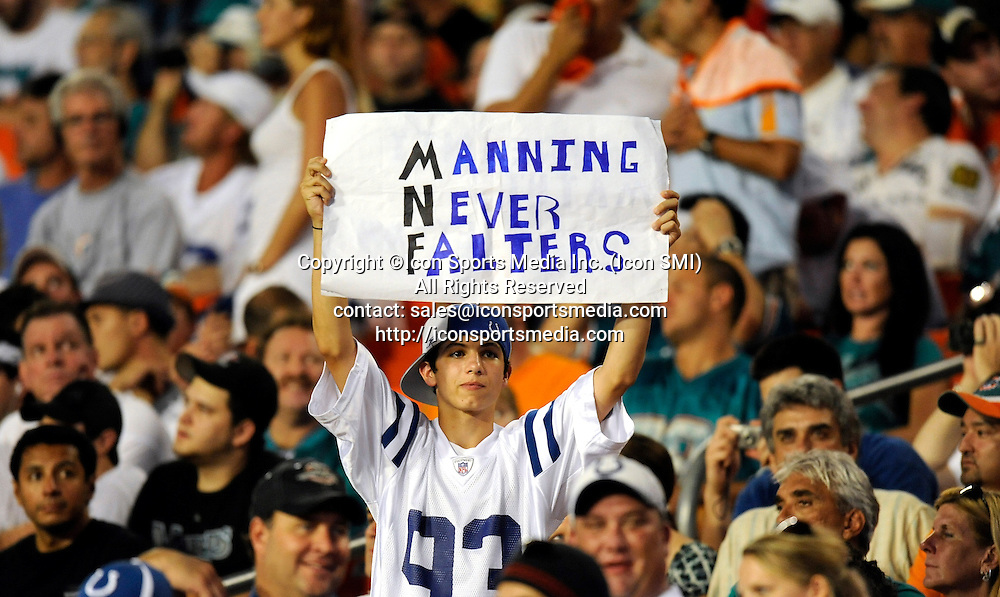 21 September 2009: An Indianapolis Colts fan during  the game against the Miami Dolphins at Land Shark Stadium in Miami, Florida.