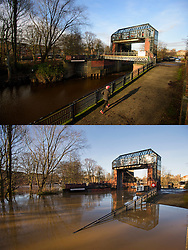 © Licensed to London News Pictures. 27/12/2016. York, UK. Side by side comparison pictures showing The Foss barrier in York as it is today, December 27, 2016 (TOP), and exactly a year ago today, on December 27, 2015 (BOTTOM) during the middle of severe flooding. Homes and businesses were destroyed in the flooding over the Christmas period last year. Photo credit: Ben Cawthra/LNP