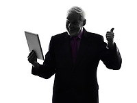 One Caucasian Senior Business Man holding digital tablet Thumb Up Silhouette White Background
