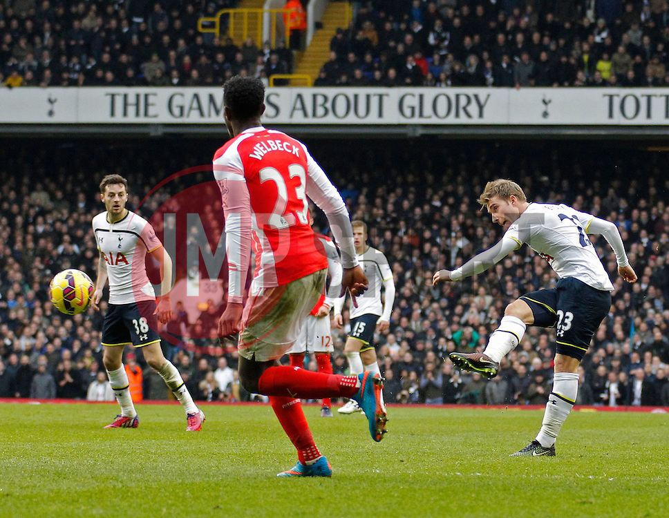 Tottenham Hotspur's Christian Eriksen takes a shot at goal - Photo mandatory by-line: Mitchell Gunn/JMP - Mobile: 07966 386802 - 07/02/2015 - SPORT - Football - London - White Hart Lane - Tottenham Hotspur v Arsenal - Barclays Premier League