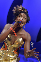 Cheltenham Jazz Festival, Cheltenham, United Kingdom, Noisettes, perform in the BIg Top at Cheltenham Music Festival, The lineup of the band consist of singer and bass player Shingai Shoniwa, drummer Jamie Morrison and guitarist Dan Smith, Saturday 04 May, 2013, Photo by: Rosalind Butt / i-Images