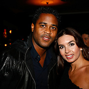 NLD/Amsterdam/20091125 - Opening cafe Players in Amsterdam, Patrick Kluivert en partner Rosanna Lima
