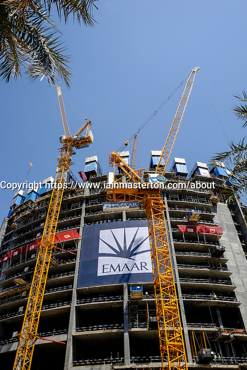 Construction of new high-rise tower by property developer Emaar in Downtown Dubai United Arab Emirates