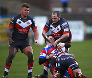 Stuart Biscomb of Normanton Knights gouges at the eyes  of Gary Middlehurst of Rochdale Hornets during the Ladbrokes Challenge Cup match at The LD Nutrition Stadium,Post Office Road, Featherstone<br /> Picture by Stephen Gaunt/Focus Images Ltd +447904833202 <br /> 17/03/2018