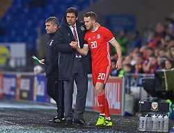 CARDIFF, WALES - Tuesday, November 14, 2017: Wales' manager Chris Coleman prepares to bring on substitute Marley Watkins during the international friendly match between Wales and Panama at the Cardiff City Stadium. (Pic by David Rawcliffe/Propaganda)