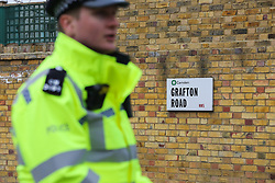 © Licensed to London News Pictures. 02/04/2019. London, UK. Police officer on Grafton Road, junction with Vicars Road in Kentish Town, north west London where a man in his 20s was found stabbed around 8.30pm on Monday 1 April 2019. He was pronounced dead at the scene. Photo credit: Dinendra Haria/LNP