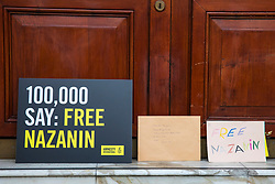 © Licensed to London News Pictures. 21/02/2018. London, UK. Letters for jailed Nazanin Zaghari-Ratcliffe on the doorstep of the Iranian Embassy in London, ahead of an expected visit by a senior Iranian minister. British-Iranian Nazanin Zaghari-Ratcliffe has been detained in Iran since April 2016. Photo credit: Rob Pinney/LNP