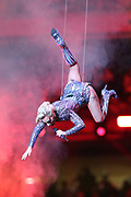 American singer, songwriter, actress and record producer Lady Gaga is upside down and suspended high in the air by wires while being lowered onto the field as she performs at halftime of the Atlanta Falcons Super Bowl LI football game against the New England Patriots on Sunday, Feb. 5, 2017 in Houston. The Patriots won the game 34-28 in overtime. (©Paul Anthony Spinelli)