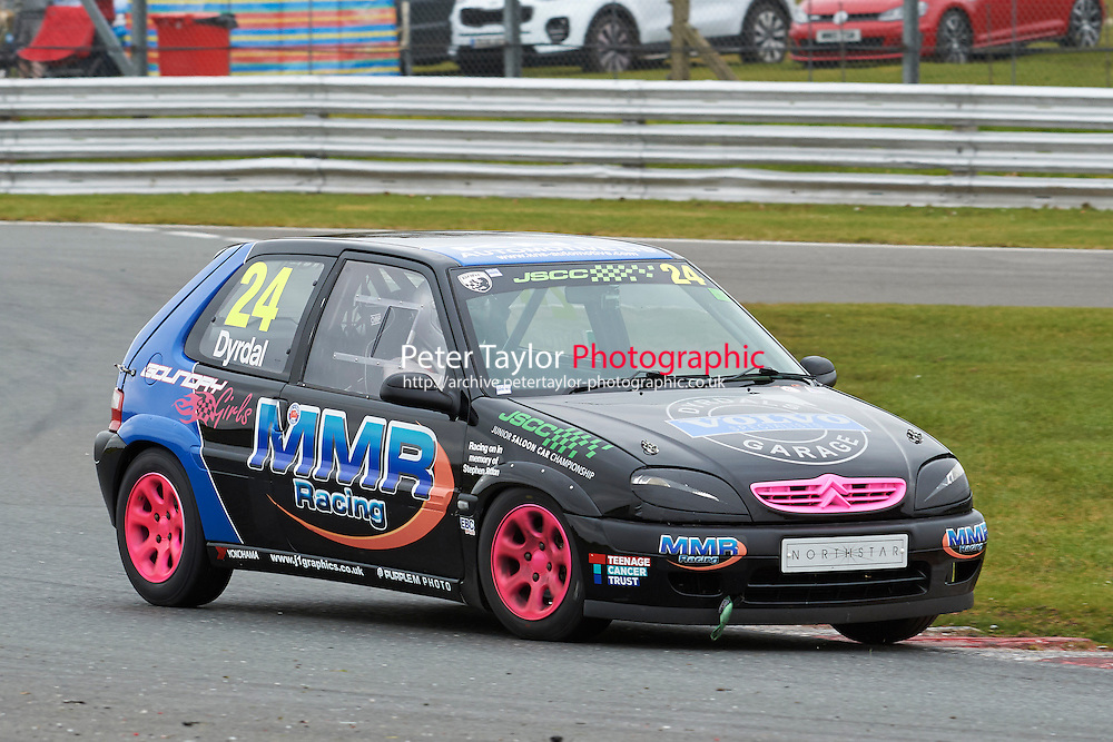 #24 Will DYRDAL Citroen Saxo VTR 1600 during Junior Saloon Car Championship as part of the BARC NW - Championship Raceday  at Oulton Park, Little Budworth, Cheshire, United Kingdom. March 19 2016. World Copyright Peter Taylor/PSP. Copy of publication required for printed pictures.  Every used picture is fee-liable. http://archive.petertaylor-photographic.co.uk