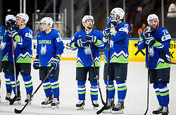 Ales Kranjc of Slovenia, Anze Kuralt of Slovenia, Mitja Robar of Slovenia, Blaz Gregorc of Slovenia, Rok Ticar of Slovenia look dejected after the 2017 IIHF Men's World Championship group B Ice hockey match between National Teams of Slovenia and Belarus, on May 13, 2017 in AccorHotels Arena in Paris, France. Photo by Vid Ponikvar / Sportida