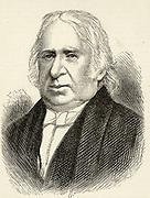 Edward Pease (1767-1858) English railway projector.  Built the first passenger railway between Stockton and Darlington. Engraving.