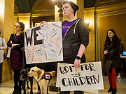 27 MARCH 2019 - ST PAUL, MN, USA:  SAM ROBERTSON, from Andover, MN, at a rally to support the survivors of domestic violence at the Minnesota State Capitol. About 200 people came to the Minnesota State Capitol to rally for two bills in the Minnesota legislature. HF464 would invest in intervention programming for the perpetrators of domestic violence and HF479 supports state funding for domestic violence prevention in under served communities.  PHOTO BY JACK KURTZ
