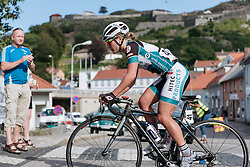 Emilie Moberg races through her home town.