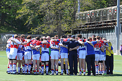 May 5, 2013; Bronx, NY; USA; New York gathers before the first half of their game against Leitrim at Gaelic Park.