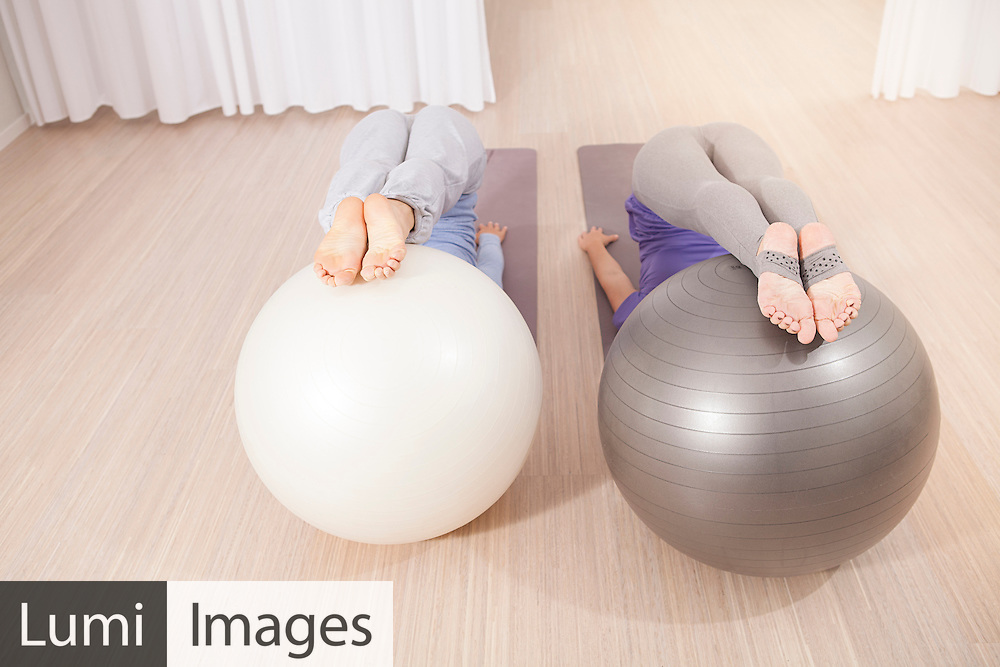 Women, Pilates, Exercise Ball, Flexibility, Balance, Strength,