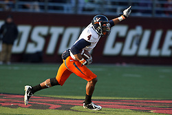 November 20, 2010; Chestnut Hill, MA, USA;  Virginia Cavaliers safety Rodney McLeod (4) celebrates after intercepting a pass by Boston College Eagles quarterback Chase Rettig (not pictured) during the fourth quarter at Alumni Stadium.  Boston College defeated Virginia 17-13.