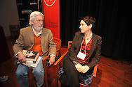 Curtis Wilkie (left) and Denise Kiernan talk before a journalism forum, at the Oxford Conference for the Book, in Oxford, Miss. on Wednesday, March 26, 2014.