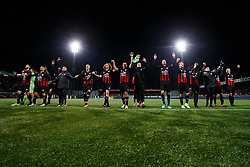 the players of Excelsior celebrate with fans, Hicham Faik of Excelsior,  Khalid Karami of Excelsior, Anouar Hadouir of Excelsior, Jordy de Wijs of Excelsior, Jordy de Wijs of Excelsior, Wout Faes of Excelsior, Ali Messaoud of Excelsior, Ryan Koolwijk of Excelsior, Milan Massop of Excelsior, Mike van Duinen of Excelsior during the Dutch Eredivisie match between sbv Excelsior Rotterdam and Willem II Tilburg at Van Donge & De Roo stadium on April 06, 2018 in Rotterdam, The Netherlands