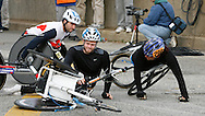 Wheelchair competitors  crash at  the start of the 2006 New York City Marathon Sunday 05 November 2006<br />