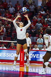 BLOOMINGTON, IL - September 15: Stef Jankiewicz during a college Women's volleyball match between the ISU Redbirds and the Marquette Golden Eagles on September 15 2019 at Illinois State University in Normal, IL. (Photo by Alan Look)