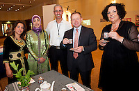 Abdelaziz Jedin , Samira Jdair, Sabah Saidi Ennis with Minister Ciaran Cannon and Dr. Katie Sweeney,  CEO Mayo VEC at the exhibition and performance day at the Radisson Blu Hotel Galway as part of the VEC's Adult Refugee Programme. Photo:Andrew Downes.
