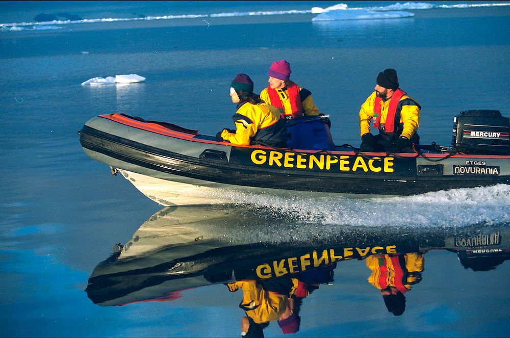 Greenpeace inflatable in Weddel sea  Accession #: 2.97.081.004.30